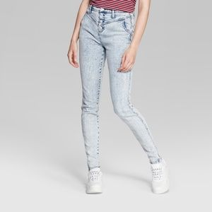 Wild Fable Women's Button Fly Acid Wash Skinny Jea